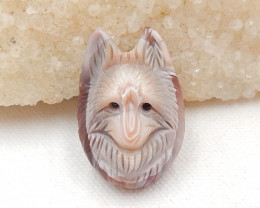 80cts Hand Carved Wolf Pendant ,Pink Shell Wolf ,Wolf Head Pendant G67