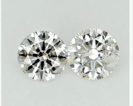 0.263 ct , Pair Round Diamonds , Light white Diamonds , WR1215