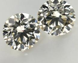 0.349 ct ,  Pair Round Diamonds , Light Color Diamonds , WR1222