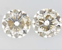 0.355 ct , Pair Round Diamonds , Light Color Diamonds , WR1227