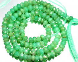 36.02 Cts Natural Milky Green Chrysoprase Beads Africa - 34cm and 4.2x3.6mm