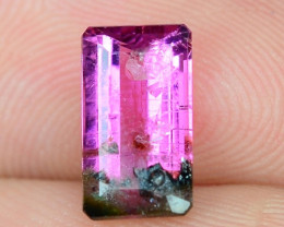 1.23 Cts Un Heated Bi-Color Natural Tourmaline Loose Gemstone