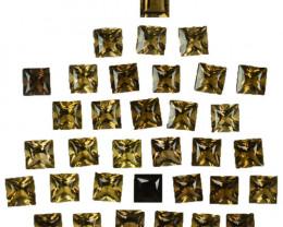 10.00 Cts Natural Smoky Quartz 4mm Princess Cut 34Pcs Parcel Brazil