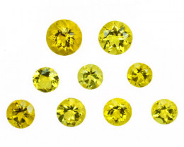 ~RICH COLOR~ 2.06 Cts Natural Yellow Scapolite 4.5-3.5mm Round 9Pcs Tanzani
