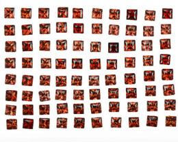 5.06 Cts Natural Vivid Red Rhodolite Garnet 2.75 m Princess Cut 80 Pcs Moza