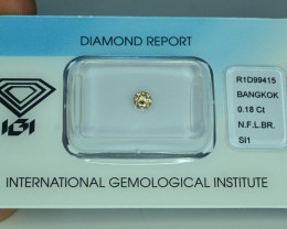 IGI Certified 0.18 ct  Si1 Clarity Natural Diamond Fancy Light Brown