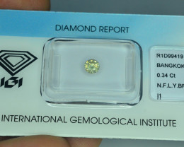 IGI Certified 0.34 ct  I1 Clarity Natural Diamond Fancy Light Yellowish