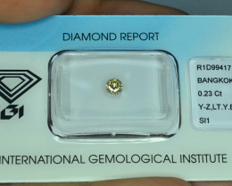 IGI Certified 0.23 ct  Si1 Clarity Natural Diamond Light Yellowish Brown