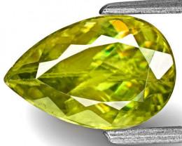 India Sphene, 2.26 Carats, Yellowish Green Pear