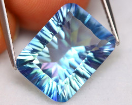 Blue Topaz 10.06Ct Natural Millennium Cut Metallic Blue Topaz A2310