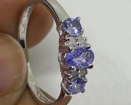 (3) Stunning  Nat 0.68ct ct Tanzanite and diamond Ring