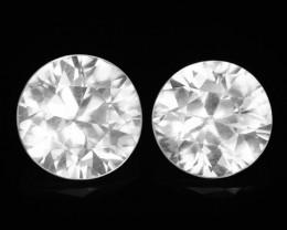 1.37 Cts 2 Pcs White Zircon Natural Loose Gemstone