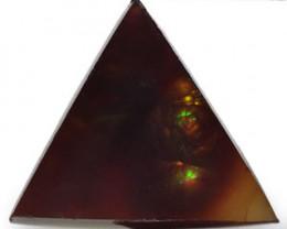 Mexico Fire Agate, 4.15 Carats, Dark Brown Triangular