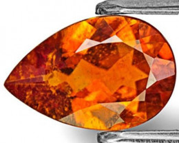 Tanzania Clinohumite, 1.57 Carats, Dark Orange Pear