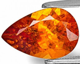 Tanzania Clinohumite, 3.43 Carats, Deep Orange Pear