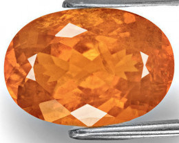 Tajikistan Clinohumite, 7.30 Carats, Rich Vivid Orange Oval