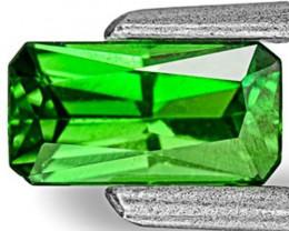 Kenya Tsavorite Garnet, 0.48 Carats, Deep Chrome Green Emerald Cut