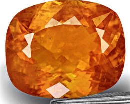 Tajikistan Clinohumite, 8.61 Carats, Lustrous Deep Orange Cushion