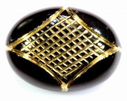 15.20 CTS-  BLACK ONYX  24K GOLD ENGRAVED  LG-611