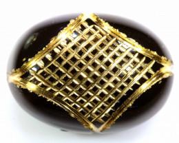 17.40 CTS- BLACK ONYX   24K GOLD ENGRAVED  LG-613