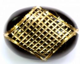 17.55 CTS- BLACK ONYX  24K GOLD ENGRAVED  LG-614