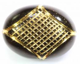 16 cts- BLACK ONYX  24K GOLD ENGRAVED  LG-621