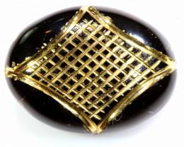 13.40 CTS- BLACK ONYX   24K GOLD ENGRAVED  LG-623