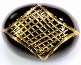 17.40 CTS- BLACK ONYX  24K GOLD ENGRAVED  LG-625