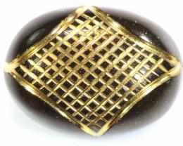 19.60 CTS- BLACK ONYX   24K GOLD ENGRAVED  LG-630