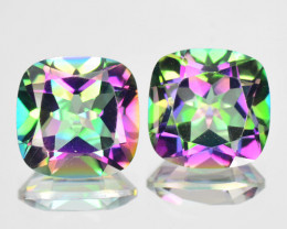 ~RAINBOW~ 5.38 Cts Natural Mystic Topaz 8mm Cushion 2Pcs Brazil