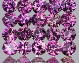 2.00 mm Round 25pcs 1.07cts Unheated Lavender Pink Sapphire [VVS]