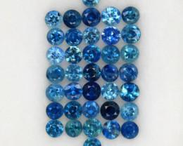 3.08 ct. 2.5-2.7 MM. NATURAL GEMSTONE BLUE SAPPHIRE DIAMOND CUT 37PCS.