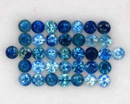 4.08 ct . 2.8 MM. DIAMOND CUT BLUE SAPPHIRE NATURAL GEMSTONE 37PCS.
