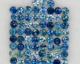 4.08 ct. 2.3 MM. NATURAL GEMSTONE MULTI COLOR SAPPHIRE DIAMOND CUT 67PCS.