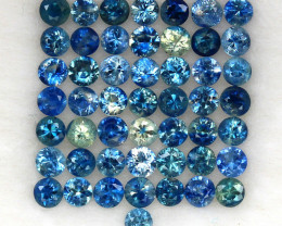 4.07 ct. 2.5-2.6 MM. DIAMOND CUT MULTI COLOR SAPPHIRE NATURAL GEMSTONE 50PC