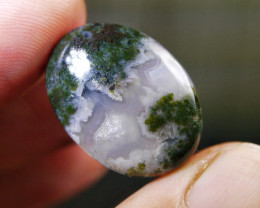 20.85 CT UNTREATED Beautiful Indonesian Moss Agate Picture