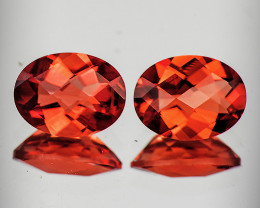 7x5 mm Oval Checker 2 pcs 1.23cts Red-Orange Andesine [VVS]