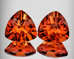 6.00 mm Trillion Checker 2pcs 1.46cts Red-Orange Andesine [VVS]
