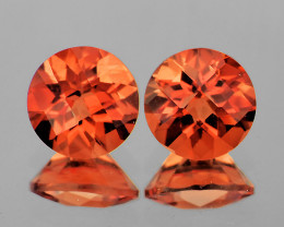 6.00 mm Round Checker 2 pcs 1.65cts Red-Orange Andesine [VVS]