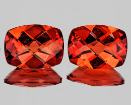 8x6 mm Cushion Checker 2pcs Orange-Red Andesine [VVS]