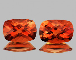 7x5 mm Cushion Checker 2pcs 1.50cts Red-Orange Andesine [VVS]