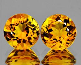 8.00 mm Round 2 pcs 3.70cts Golden Orange Citrine [VVS]