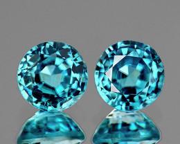 6.00 mm Round 2pcs 2.56cts Blue Zircon [VVS]