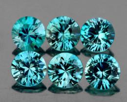 4.00 mm Round 6 pcs 2.22cts Blue Zircon [VVS]