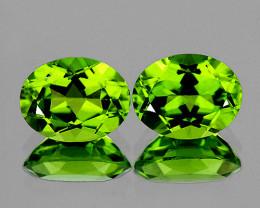 9x7 mm Oval 2 pcs 4.61cts Green Peridot [VVS]