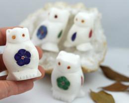 Cute OWL family marble Gemstone carvings Bu 2652