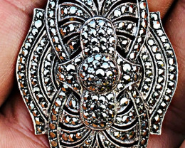 51.52 CT MARCASITE BROOCH OR PENDANT over 450 stones!!