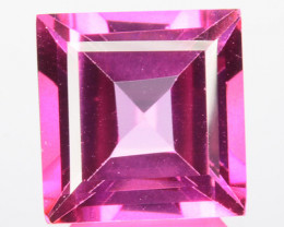 ~AWESOME~ 3.90 Cts Candy Pink Natural Topaz 9mm Square Cut Brazil