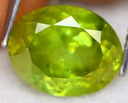 Sphene 4.10Ct Oval Cut Natural Madagascar Vivid Green Color Sphene B2712