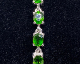(1) Stunning  Natural 9.03tcw. Rich Green Chrome Diopside Bracelet